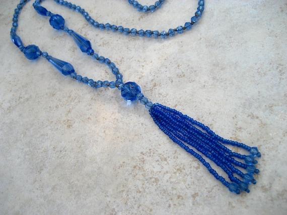 Vintage Art Deco Necklace Blue Glass Crystal Flapper Tassel