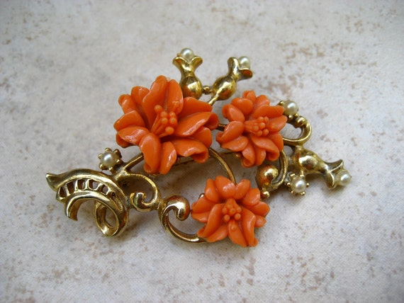 Vintage Celluloid Flower Brooch Faux Coral Lilies Faux Pearls Gold Tone