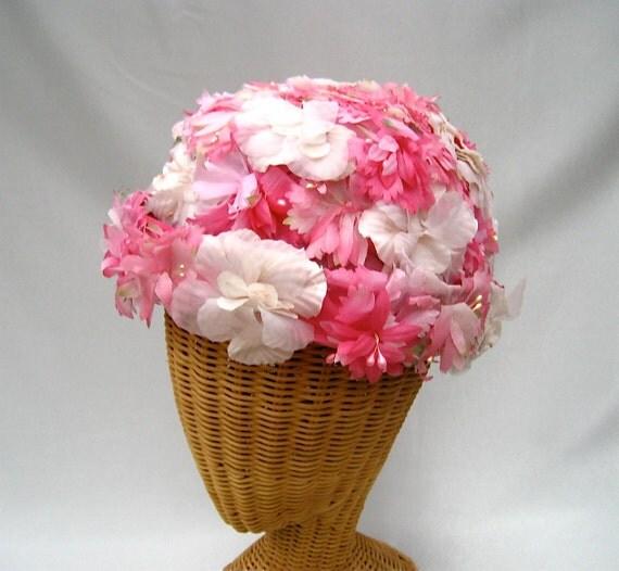 Vintage Ladies Hat Silk Flowers Pink White