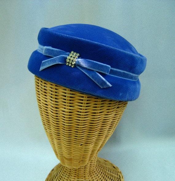 Vintage Ladies Hat Blue Velvet Pillbox Rhinestones