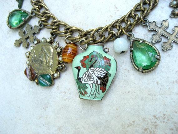 Vintage Signed ART Charm Bracelet Enamel Snuff Bottle Repousse Cameo Joan of Arc Cloisonné Crane Art Glass