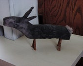 Primitive Folk Art Olde Black Hare with rusty square nail legs Just 2 LEFT!
