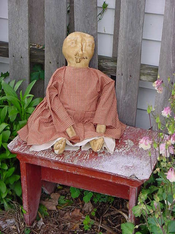 Handmade Primitive Rustic Doll with Hand Stitched Face by angelbugprims