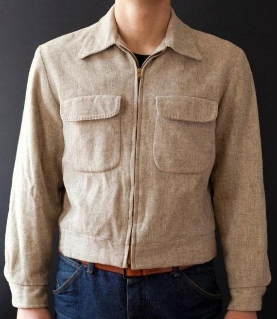 vintage 1950s / 50s FLECKED wool ricky men jacket. Size M