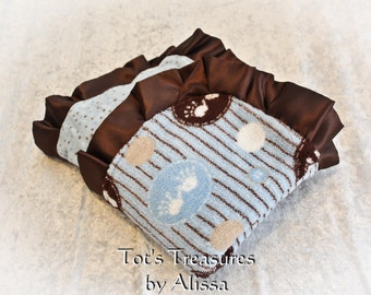 Handprint and Footprint  Baby Blanket...Minky and Blue Dot Flannel...ready to ship