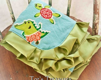 Turtle and Aligator Baby Blanket.....Flannel and Green Dot Minky with Satin Ruffle....READY TO SHIP