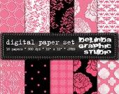Hot Pink Black White Vintage Digital Papers for Blogging and Scrapbooking  INSTANT DOWNLOAD