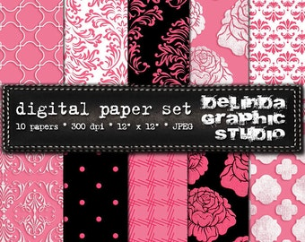 Hot Pink Black White Vintage Digital Papers for Blogging and Scrapbooking  INSTANT DOWNLOAD