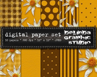 Yellow Brown White Digital Papers for Blogging and Scrapbooking INSTANT DOWNLOAD