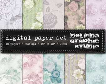 Shabby Roses Vintage Digital Papers for Blogging and Scrapbooking  INSTANT DOWNLOAD