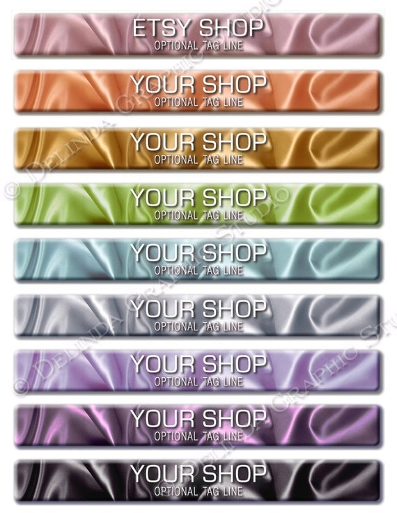 Etsy Shop Banner Avatar Premade Set of Two 3D SILK Choose Your Colour