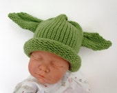 Knit Yoda Baby Hat Roll Brim  with Wasabi Green with Ears Kids Size