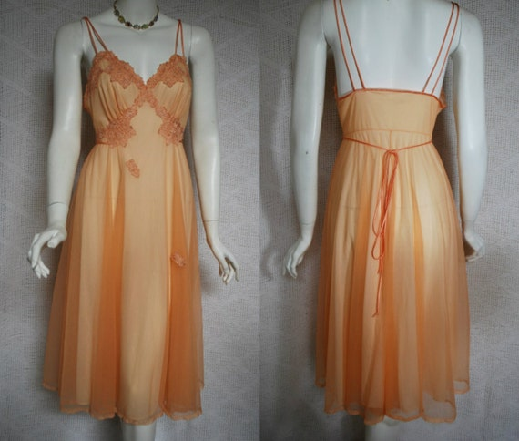 1950s Peach Nightgown, Gotham Gold, Floral appliques, Nylon Chiffon, 32,  xsmall  small
