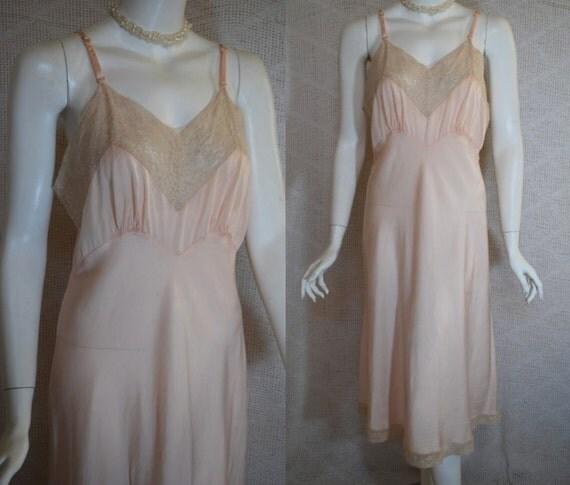 1940s Fischer Silk Slip, Soft Peach Silk and Ecru Lace Full Slip,  34, Small Medium