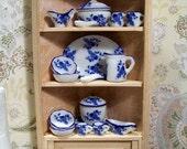 1:12 Scale Miniature Dollhouse OOAK Corner Cupboard in  Beautiful Blush with Blue and White Transferware