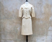 Mad Men classic womens 1950's suit / 50's champagne satin damask skirt and jacket, small / medium
