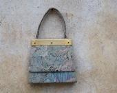 20% OFF  Vintage 1950's art deco tapestry purse/ 50s watercolor floral handbag/ gold hardware