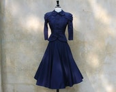 """1940's """"new look"""" vintage navy satin fitted jacket and full skirt/40s blue satin suit by Daryl / Small"""