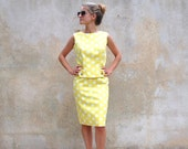Reserved  for Cheryl Vintage 50s suit - 1950s summer skirt and top -  Mary Tyler Moore yellow and white polka dot dress - small