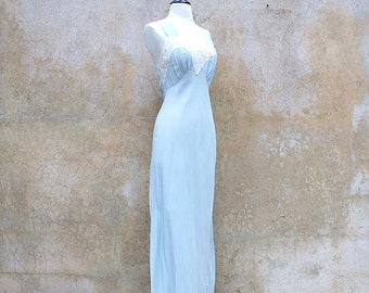 Exquisite Jean Harlow bias cut 1940's nightgown/ 40's lingerie/ vintage blue pinup gown