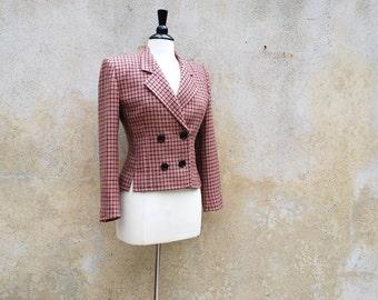 Vintage 70s Parisian chic designer cropped wool jacket/ Guy Laroche 1970s jacket/ dusty rose and black plaid winter jacket/ M