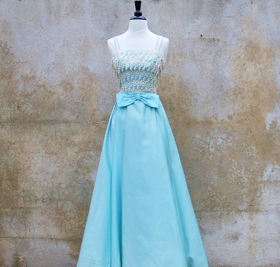 Vintage 1950's baby blue satin prom dress - 50's formal evening dress - extra small