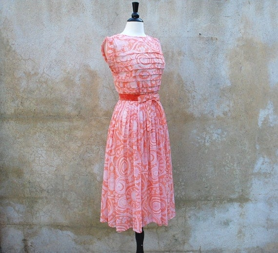 50s coral paisley pleated day dress/1950s summer sheer dress nipped waist full skirt