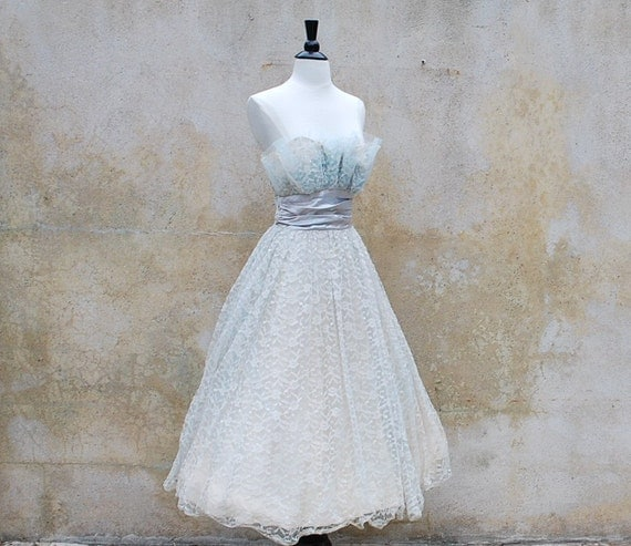 Reserved for Cassandra 50s strapless wedding/prom/party tea length lace dress/ vintage 1950s baby blue cocktail/ small