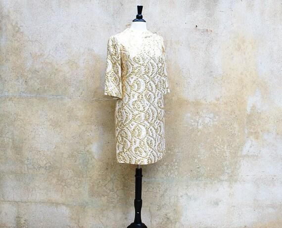 1970s MOD cocktail dress/ 70s gold metallic Twiggy shift party dress/ medium