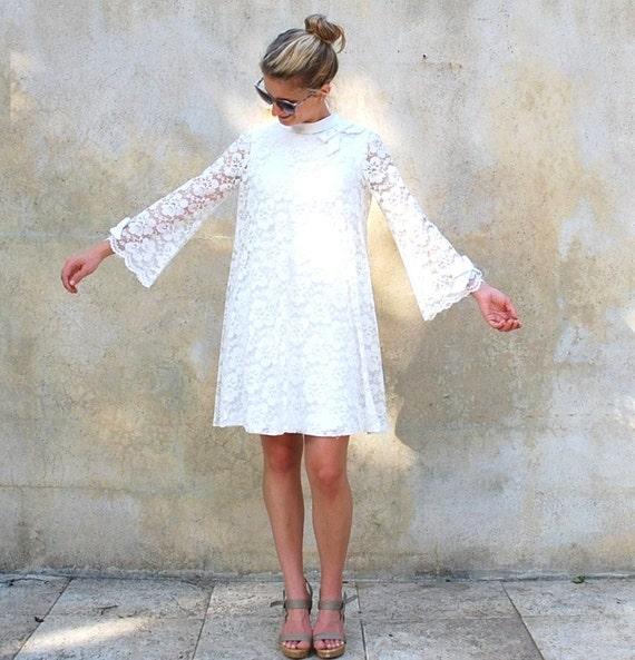 Vintage 1960s Wedding Dresses: Vintage Mod White Lace Dress 1960s Twiggy Cocktail Dress