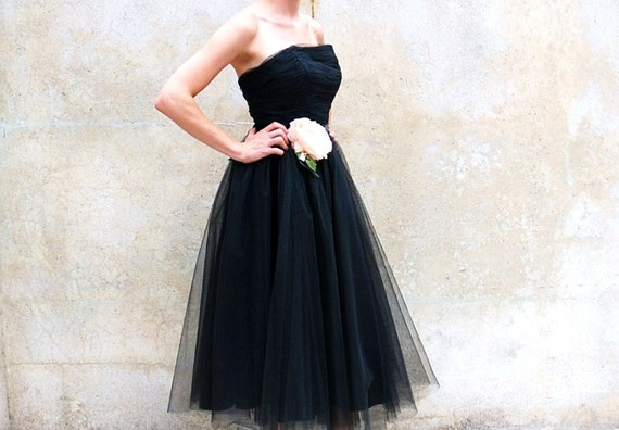 1950s party dress - 50s tulle black strapless prom dress - Mad Men formal vintage dress - cocktail dress- small