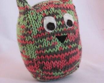 Multicolored Handknit Stuffed Owl