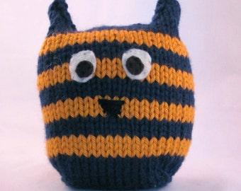 Plush Owl Toy, Blue and Orange Owl, Handknit Stuffed Owl