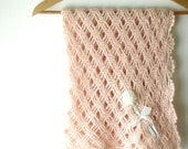 Vintage Dusty Pink  Baby Carriage  Crochet Blanket , Pram Cover