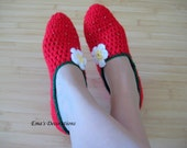 Delicious Strawberry Slippers, Crochet red Home Shoes - one pair - woman size