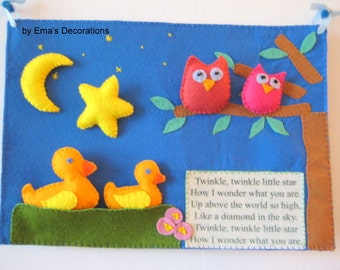 Twinkle Twinkle Little Star Quiet Book Song, Toddler Activity Book, Felt Board, First Birthday Gift, Learning Felt Board, Owl Nursery Decor
