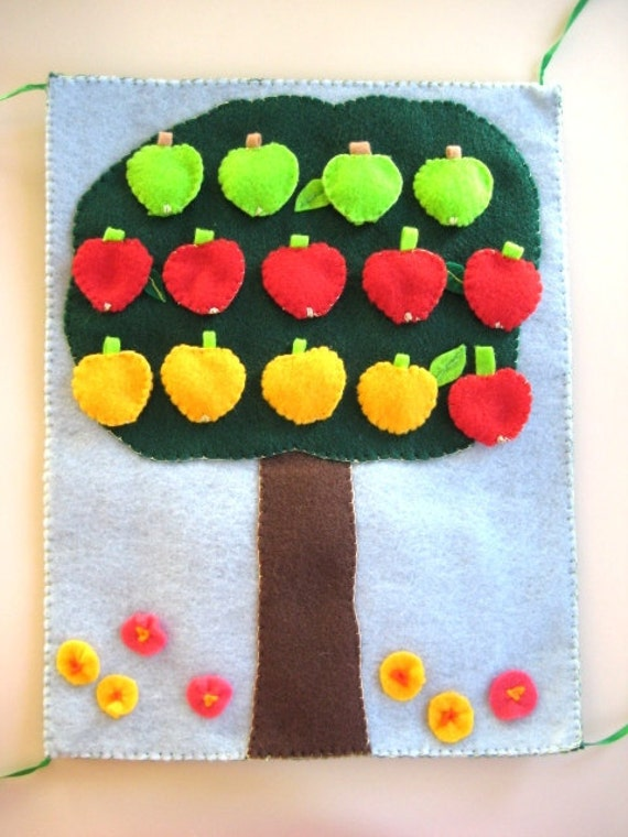 Back to School Quiet Book Felt Math Book, Kindergarten Preschool, Apple Tree Book
