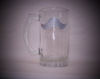 Pewter Moustache on Beer Mug   Set of 2
