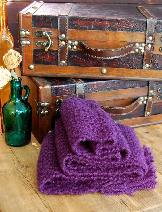 Grape Knit Fringe Scarf