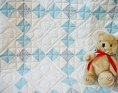 25% off--Blue and white baby quilt, with lots of hearts for your little boy