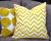sunshine yellow and white chevron pillow