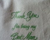 Best Man Gift 2 Thank you for being my Bridesmaid 5x6 Muslin Bags Gift Wedding Party Green Bridal Mini Liquor Shot Glass Tags Available