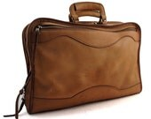 Vintage Brown Leather Soft Briefcase with Hunter and Hound Scene.