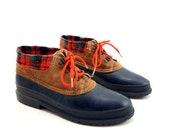 Danexx Duck Boots with Lady Lumberjack Plaid Knit Cuffs and Leather Tops for a women's Size 9