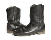 Men's Black Vintage Red Wing Pecos Boots / Motorcycle Boots for size 10 1/2 D