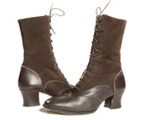 Vintage  Granny Boots Victorian Fashion Tall Lace up Wingtip Brouges Women's size 6 1/2 - 7 US 37 Euro