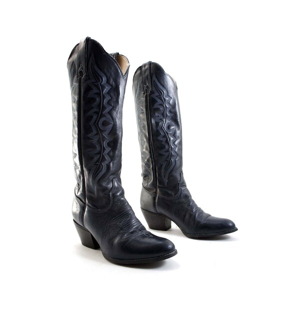 navy blue cowboy boots with feather stitch by kenny rogers