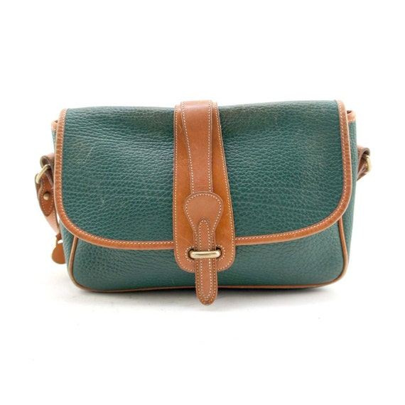 BLACK FRIDAY ETSY / Dooney and Bourke All Weather Leather Equestrian Cross Body Bag in Green Pebbled Leather and British Tan Trim