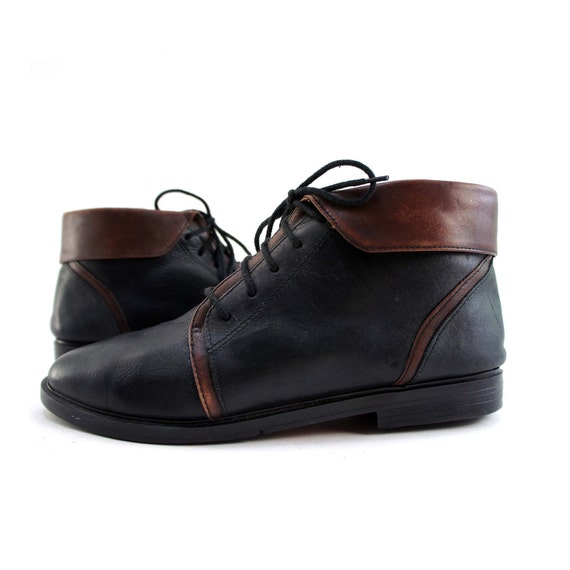 sporto boots with fold cuffs in black and burgundy