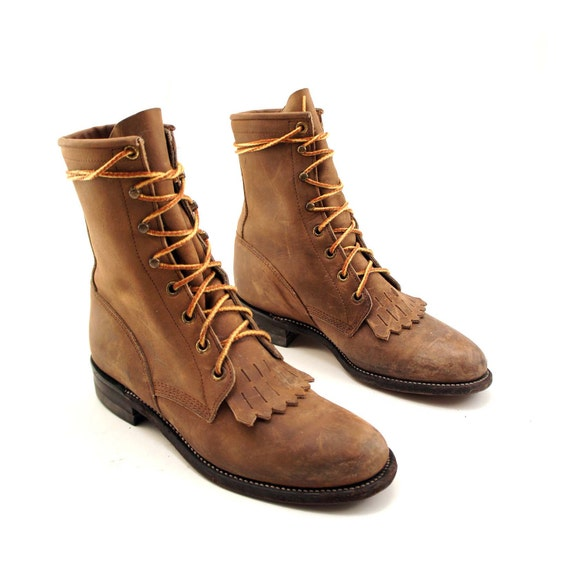 lace up justin roper boots in brown leather with kilties